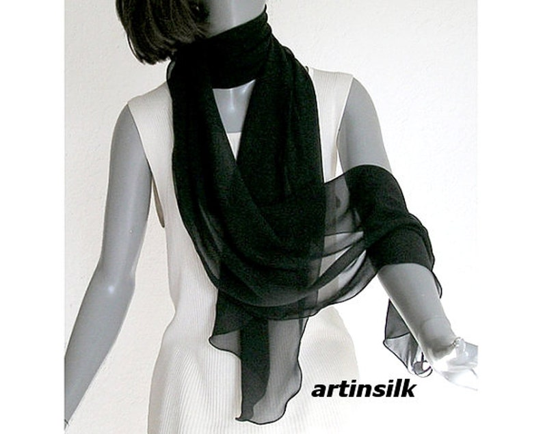 1a7f1f76807 Long Black Scarf Silk Chiffon Wrap Sheer Narrow Shawl, See through Wrap,  Evening Formal, Wavy Edge, Pure Mulberry Silk 17x84