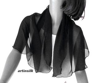 Black Chiffon Scarf Pure Silk Petite Shoulder Coverup, Artinsilk