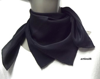 """Small Square Scarf Hand Hemmed Silk Crepe, Kerchief Black or Beige or Natural White, 21 x 21"""""""