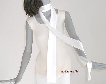 Sheer White Belt, Natural Silk Skinny Scarf, Narrow Sash Tie, Bridal Sash Bridal Formal Cummerbund, Artinsilk