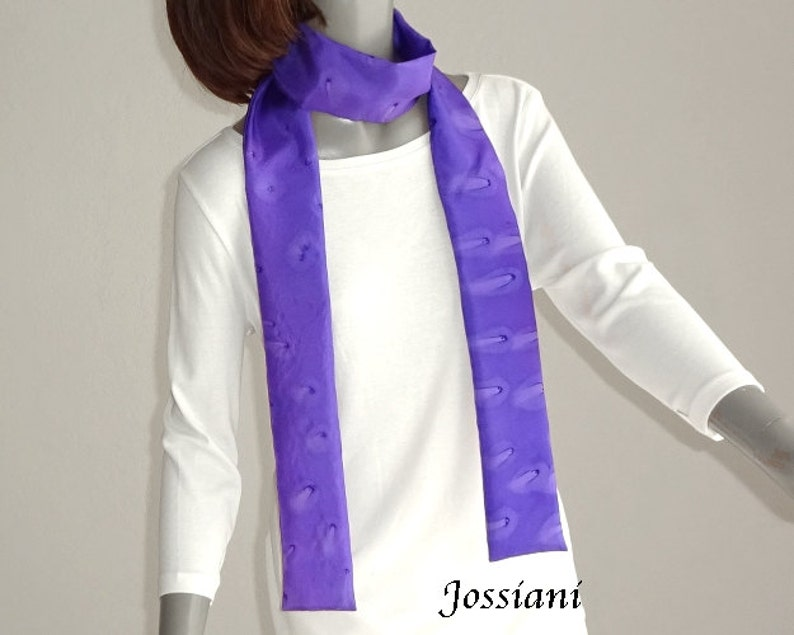 6ab4cff91bbe68 Purple Skinny Scarf Hand Painted Silk Unique Long Scarf