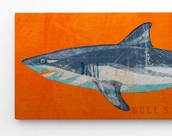 Shark Decor, Bull Shark Print, Bull Shark Art Block Gifts for Boyfriend, Beach Theme Shark Bedroom, Shark Nursery Decor, Shark Wood Wall Art