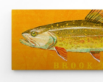 Trout Fishing Gifts for Dad, Gifts For Men, Gifts, Brook Trout Art Block Sign, Lake Home Art, Brook Trout Print, Fisherman Gifts for Boys