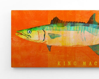 Fathers Day Gift for Him, Fishing Gifts for Men, King Mackerel Art Block Sign, Gift for Boyfriend, King Mackerel Print
