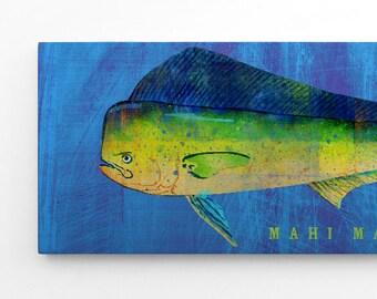 Fathers Day Gifts, Mahi Mahi Art Block, Mahi Mahi Print, Fish Gifts for Husband, Gifts for Boyfriend, Gifts for Parents, Fish Art
