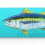 Coastal Decor, Yellowfin Tuna Art Block, Fishing Gifts for Men, Tuna Fish Art, Coastal Wall Decor, Fish Wall Art