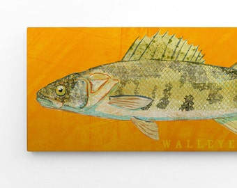 Outdoor Gift, Freshwater Fish Gifts, Dad Gifts, Walleye Art Block Sign, Lake House Art, Unique Gifts for Men, Walleye Print
