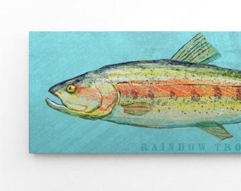 "Outdoor Gift, Outdoorsman Gift, Fish Art, The Big One Art Block, Pick the Print, 6.5"" x 18"", Wall Art for Men, Fish Nursery Decor"