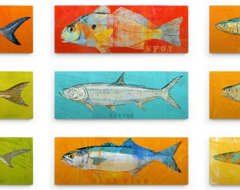 Fathers Day Fishing Gifts for Men, Boys Room Decor, Husband Gifts for Dad, Saltwater Fish Art Block, Pick the Fish Wall Decor