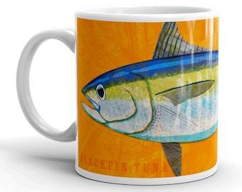 Outdoor Gift, Coffee Gift, Fish Coffee Cup, Husband Gift, Fish Mug, Blackfin Tuna Mug, Fishing Gift, for Fisherman Gift, Fish Gift for Him