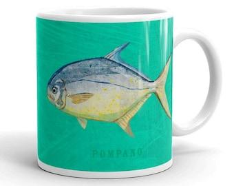 Fishing Gift, for Fisherman, Gift for Dad Fishing, Gift Mug for Him, Husband Gift, Fish Mug, Pompano Mug, Fish Gift for Him