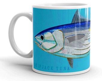Outdoor Gift- Coffee Gift- Fish Coffee Cup- Husband Gift- Fish Mug- Skipjack Tuna Mug- Fishing Gift- for Fisherman Gift- Fish Gift for Him