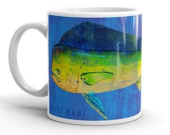 Fathers Day Gifts for Fisherman, Mug for Him, Husband Gift, Fishing Mugs, Mahi Mahi Mug, Fishing Gift, for Fisherman Gift, Fish Gift for Him