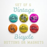 6 Vintage Bicycle Magnets, Bicycle Gift for Cyclists, Bicycle Pinbacks, Bike Gifts, Bicycle Buttons