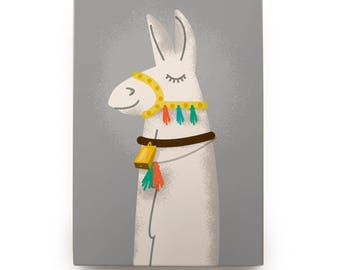 Cute Llama Lover Gifts, Llama Gifts, for Her, Llama Art Box, Mounted Llama Print
