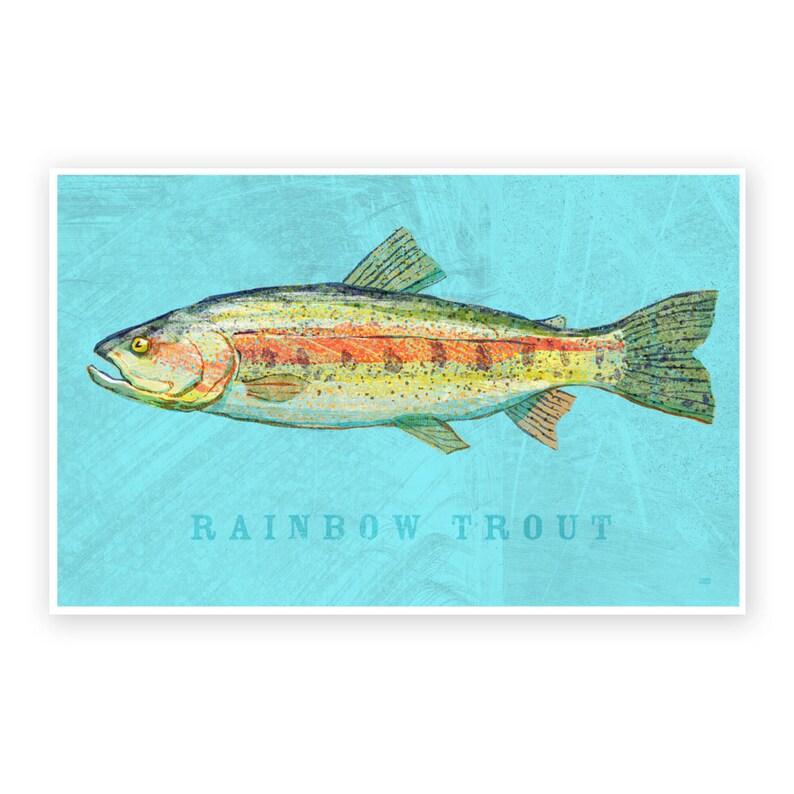 Lake House Decor Rainbow Trout Art Print 8x12 image 0