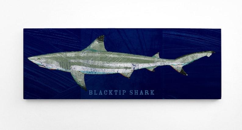 Fishing Gifts for Husband Fish Wall Art Shark Wall Decor Blacktip Shark Art Block Coastal Decor