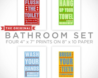 Bathroom Prints Kids Bathroom Decor, Kids Bathroom Wall Decor, Bathroom Art, Kids Bathroom Wall Art, Set of 4 By Order of the Management