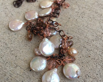 pearl and copper long necklace