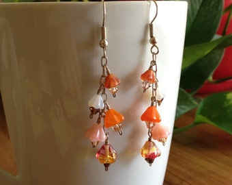 Glass Flower, Crystal and Chain Earrings