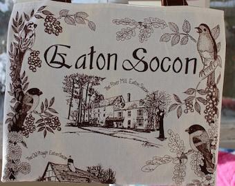 "Upcycled Eaton Socon Souvenir Tote, 16""x13"", grocery tote bag, library tote bag, OOAK, eco bag, vintage tea towel, Eaton Socon, British tote"