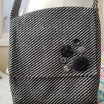 "Cross Body Bag with Black and Grey Stripes, 11"" x 11"", messenger bag, shoulder bag, cross-body bag, purse, lightweight, handmade, OOAK"