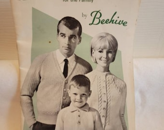 Beehive book, vintage knitting book, vintage book, 40s book, Astra easy knits for the family, sweater pattern, knitted sweater patterns