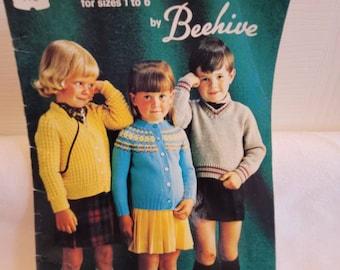Beehive book, vintage pattern, vintage knitting pattern, Preschool fashions, toddler knits, children knit patterns, knitted sweater patterns