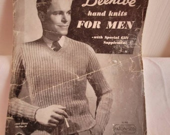 Beehive Hand knits for Men book, vintage knitting book, vintage pattern book, vintage book, mens knitting patterns, knit sweater pattern