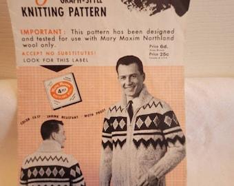 Mary Maxim patterns, knitting patterns, siwash pattern, knitted siwash pattern, knitted sweater pattern, sweater pattern, mens knit sweater