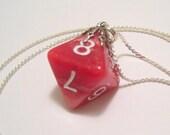 Red D8 Pendant Necklace