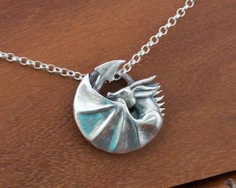 Sleeping dragon pendant, dragon necklace, dragon medallion, carved dragon pendant, handmade dragon, silver dragon, dragon jewellery, unisex