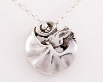 Silver dragon pendant, sleeping dragon pendant, dragon necklace, dragon medallion, carved dragon pendant, unisex