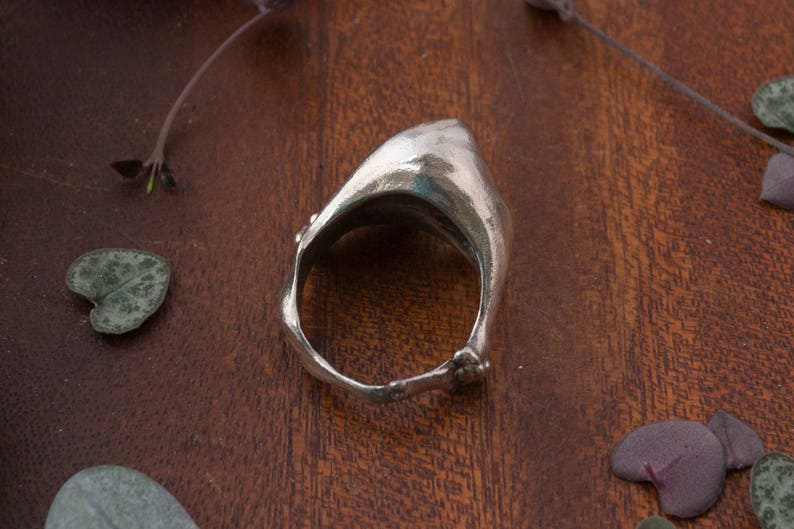 captured in sterling silver Breaking wave ring dramatic surf crashing on a shore