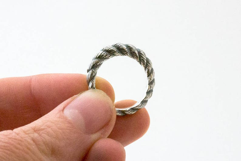 Silver rope ring  strong twisted rope sculpted in sterling image 1