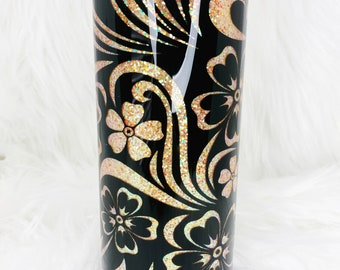 Orange and Black Floral Peekaboo Glitter 24oz Stainless Steel Skinny Double Walled Epoxy Tumbler - Ready To Ship!
