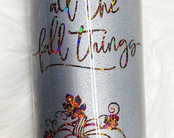 All The Fall Things Peekaboo Gliter 16oz Stainless Steel Skinny Double Walled Epoxy Tumbler - Ready To Ship!