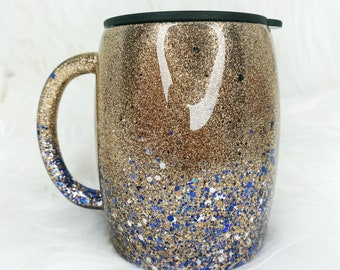 Gold to Navy Glitter Ombre 14oz Double Walled Epoxy Coffee Cup - Ready To Ship!