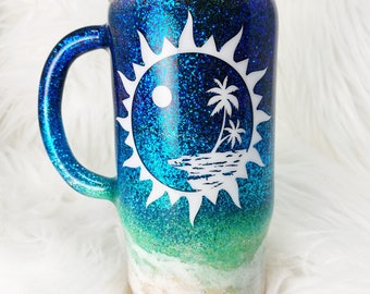 Beach Waves Sunny Island 16oz Double Walled Epoxy Travel Coffee Cup - Ready To Ship!