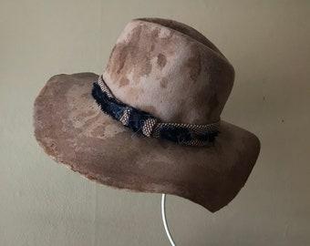 Boho hat - wool felt bohemian style hat, wide brim hat, tomokotahara