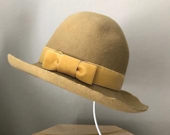 Mustard yellow wool hat, fedora, bohemian style, tomokotahara
