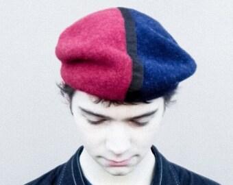 Three tone wool beret, mens hat,unisex hat