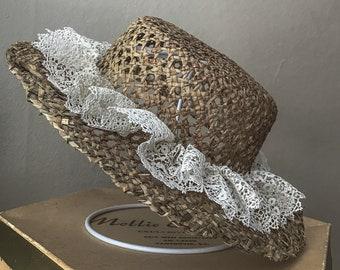 Edwardian style straw hat - sun hat - tomokotahara