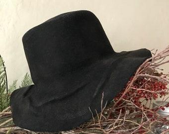 Wool felt hat, Tree roots pattern, Edwardian style, mens hat, unisex hat - black