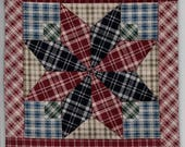 100175PAQ-6020 Miniature Star Plaid Dollhouse Quilt or Rug 7.5 quot Square Great for OOAK Sculpt Doll