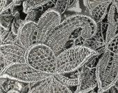 Gray Vintage Lace Bits, Set of 6 Lace Motifs, Appliques, Lace Flower Embellishiments, 3 quot x 2 1 4 quot