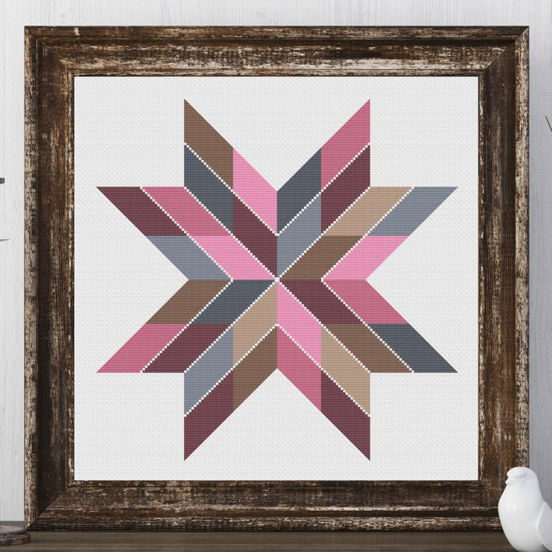 Claire Star Barn Quilt Square Traditional Cross Stitch Pattern image 0