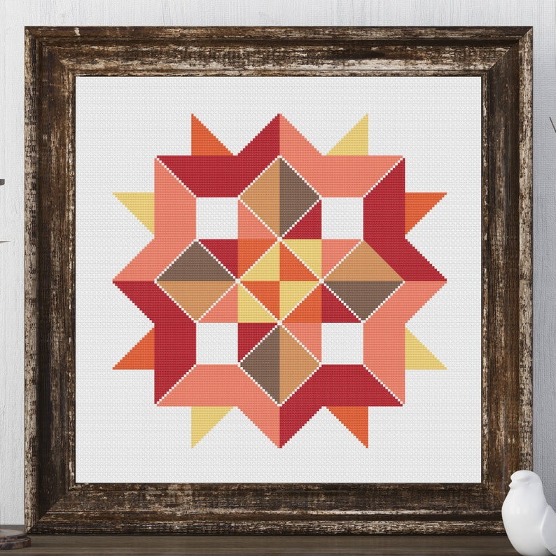Heidi Star Barn Quilt Square Traditional Cross Stitch Pattern image 0