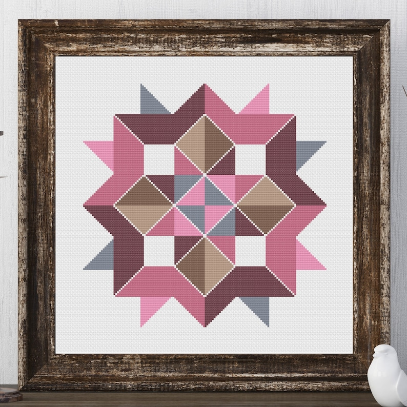 Frelle Star Barn Quilt Square Traditional Cross Stitch Pattern image 0