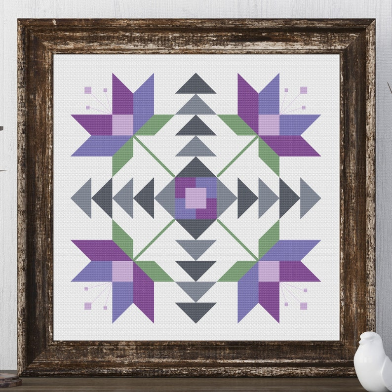 Jackie Flower Barn Quilt Square Traditional Cross Stitch image 0